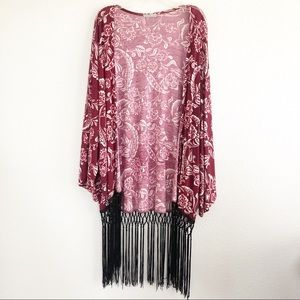 Charlotte Russe Floral Maroon Red Patterned Kimono